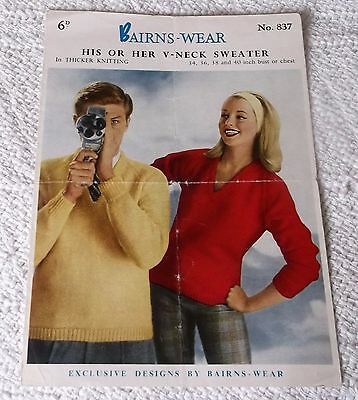 ORIGINAL VINTAGE 1950's BAIRNSWEAR  KNITTING PATTERN No.837 HIS/HERS  SWEATER