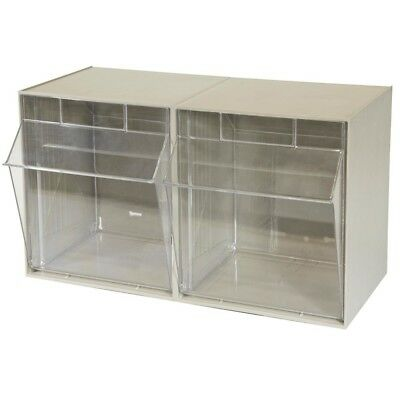 TiltView Cabinet 2-Compartment 30 lb. Capacity Small Parts Organizer Storage Bin