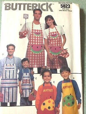 Butterick Pattern Family Aprons - Uncut Adult and Child  Pattern 5823 - 1991