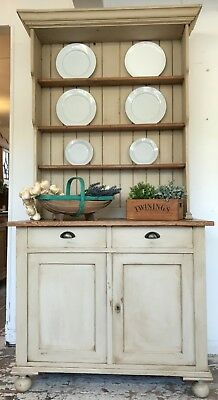 Tall Cream Antique Painted Pine Shabby Chic Dresser - Home Sweet Home Store