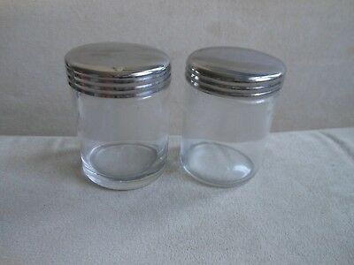 2 lovely useful glass containers metal lids antique? cosmetics rings herbs pins