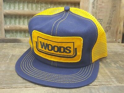 Vintage WOODS Mesh Snapback Trucker Hat Cap Patch K Products Made In USA