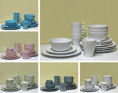 16pcs Dinnerware Set Round Ceramic Stoneware Serving Tableware Plates Bowls Cups