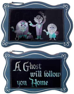 NEW! Disney Parks Haunted Mansion Hitchhiking Ghosts Zipper Pouch Purse Bag Clut