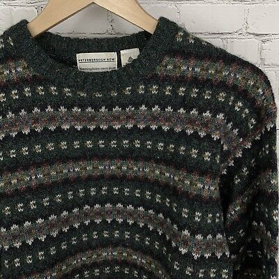 Men's BLOOMINGDALE'S Small Vintage 100% Wool Shetland Donegal Sweater EUC