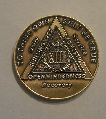 aa bronze alcoholics anonymous 13 year sobriety chip coin token medallion NEW