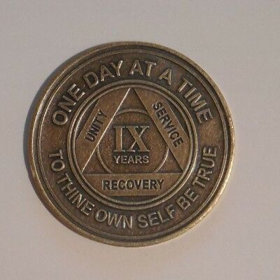 aa bronze alcoholics anonymous 9 year sobriety chip coin token medallion