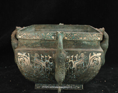Certified Chinese  Ancient Bronze Ware square Zun tripod Bowl teapot box Statue