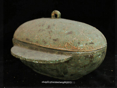 Certified 100% Chinese  Ancient Bronze Ware Night pot box bowl Statue