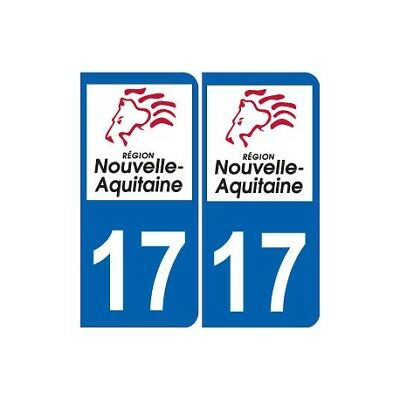 Badges, Insignes, Mascottes 17 Charente-maritime Departement Immatriculation 2 X Autocollants Sticker