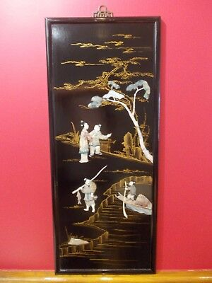 ANTIQUE lacquer mother of pearl chinese japanese panel picture laquer lacquered