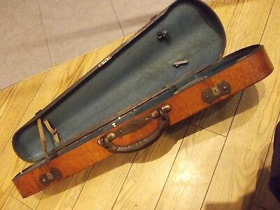 antique PINE CARCASS wooden WALNUT veneer wood VIOLIN fiddle travelling CASE BOX