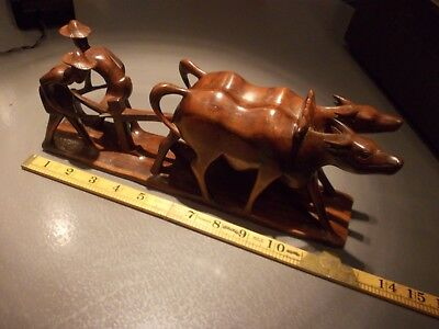 ANTIQUE asian CHINESE buffalo plough team carved wood wooden carving fine detail