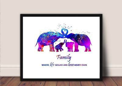 elephant love Print animal family a4 gloss poster picture, watercolour  UNFRAMED