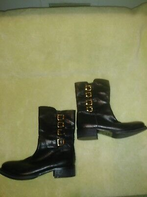 4e936d71aa3f4 NAPOLEONI Black Leather Gold Buckle Ankle Boots Made In Italy Size 37 US 7