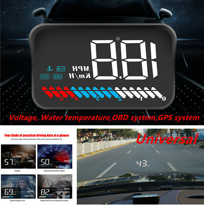 HUD Head Up Display Device USB OBD GPS Universal Car Windshield Speed Projector