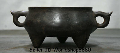 """8.8"""" Xuande Marked Old Chinese Ming Purple Bronze Dynasty Incense Burner Censer"""