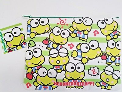 Sanrio Keroppi Large Canvas Zippered Pouch - New With Tags