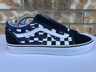 MEN'S VANS OLD Skool Checker Flame Checkerboard Racing Navy Blue White Size  8