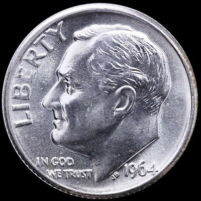 """1964 D Roosevelt 90% SILVER Dime """"About Uncirculated"""" US Mint"""