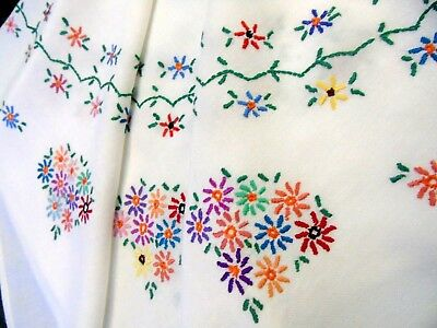 2 (TWO).Vintage,Pretty, Hand Embroidered Tablecloth..Multicoloured Daisies.GC