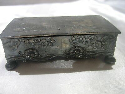 Victorian Antique Derby Co. Silver Plate Ornate Divided Footed Stamp Box