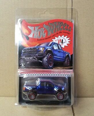 Hot Wheels 2018 RLC Red Line Club 2017 Ford F-150 Raptor Blue w/ Real Riders RR