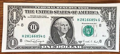1988 A $1 Dollar Note - 8 H - St. Louis - Uncirculated