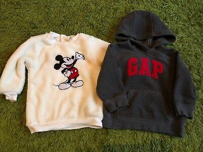Baby Boys Gap H&M Grey Logo Hoodie White Fluffy Mickey Mouse Jumper 6-9 Months
