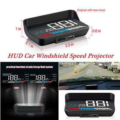 HUD Head Up Display USB OBD GPS Universal Car Auto Windshield Speed Projector