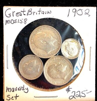 Great Britain Maundy Set 4 Coins 1902