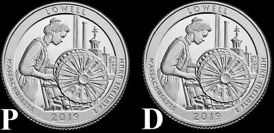 "2019 P&D Lowell National Park Quarter Massachusetts ""BU"" ATB (2 Coins)"