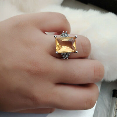 Fashion Rings Stainless Steel Orange Filled Cut Stone Wedding Party Size 6-10