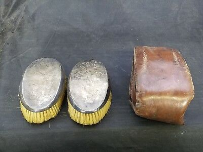 WWI British Hair Brush Set in Original Leather Pouch Owned by Capt. H. Dean