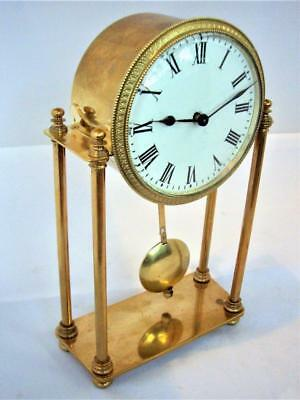 Antique French Brass 8-Day Portico Mantle Clock Restored.