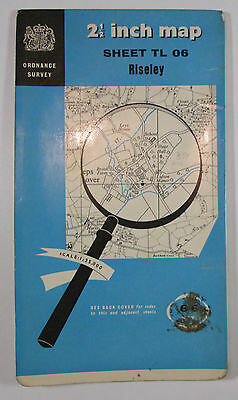 1955 old vintage OS Ordnance Survey 1:25000 First Series Prov map TL 06 Risely