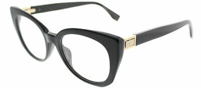 35cd2ddddcb FENDI FACETS FF 0160 807 Black Plastic Cat-Eye Eyeglasses 50mm ...