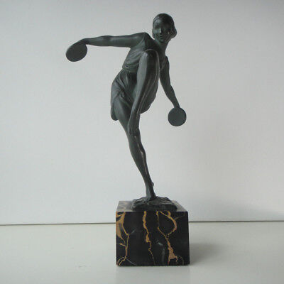 French Art Deco Sculpture - Dancer with Cymbals by Fayral