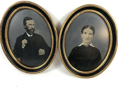 Pair of framed colored tin types tinted man wife matching antique photos oval
