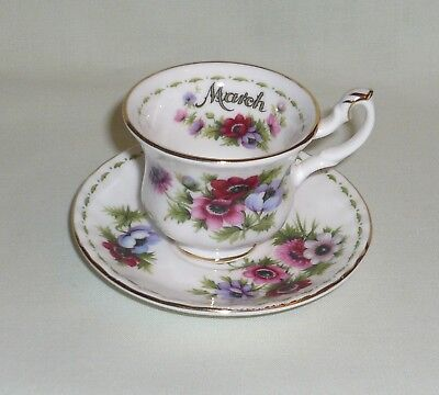 Royal Albert Flower of the Month March Anemones MINIATURE Cup & Saucer