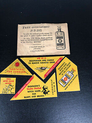 Vintage DICKINSON'S  WITCH HAZEL barbershop pharmacy Advertising Promo Game