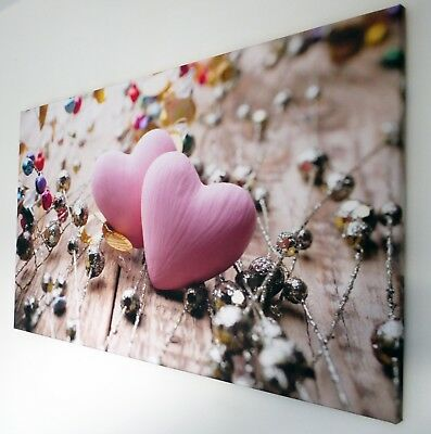 Pink Heart  Canvas Print Wall Art Picture  18 X 32 Inch