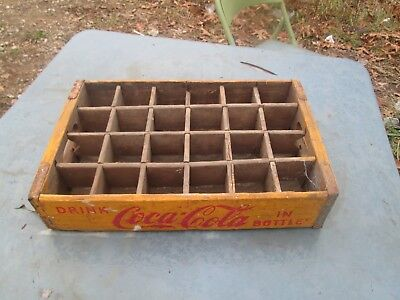 vtg Coca - Cola Soda Wooden Carrier Case Jacksonville ILL Illinois Yellow & Red