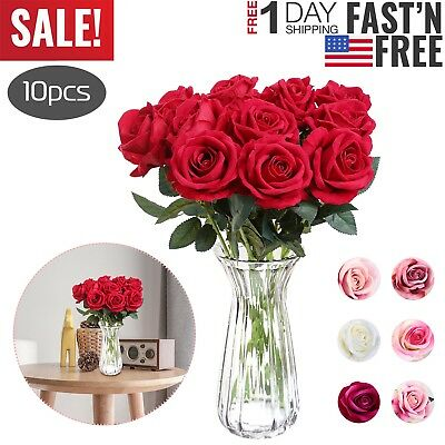 10pcs Real Touch Silk Artificial Rose Flowers Simulation Fake Flower Home Decor