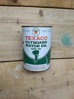 Texaco Outboard Motor Oil 1 QT SAE 30 Boating Can - Empty