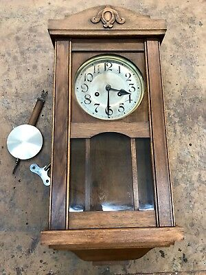 Antique Wall Clock Wood Case Vintage Old Unknown Origin or Age