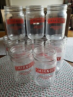 ( 12 ) Smirnoff Vodka Glasses Mason Jars - 12 oz Moonshine Jars 2013 - Lot