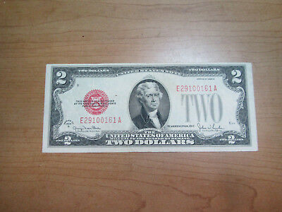 1928-G Two $2 Dollar Note Bill Red Seal 1928G