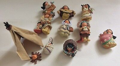 Vintage  Enesco  Friends Of The Feather Figs. Lot Of 11 Tee Pee & Campfire