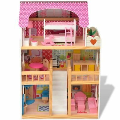 Wooden Kids Doll House 3 Storey Dollhouse with Furniture Accessories & Staircase